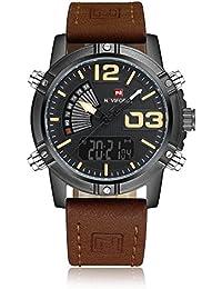 Reloj analógico de muñeca Naviforce para hombre con estilo deportivo, correa de piel, doble zona horaria, alarma, temporizador, luz LCD, de color marrón oscuro