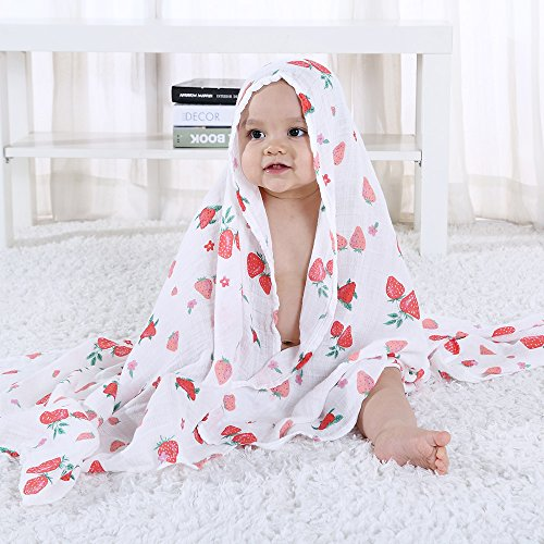 Copertine per Carrozzina e Culla 2 Pack Ananas /& Fragole LifeTree Copertina in Mussola Neonato Cotone Bamb/ù Swaddle per Bambine e Bambini 120 x 120 cm