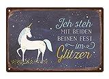 Grafik-Werkstatt 60726 Wand-Schild | Vintage-Art |Ich Steh mit beiden Beinen Fest im glitzer | Retro | Nostalgic |Blechschild | Deko | Einhorn Blechschild, Metall, Uni, 30 x 20 cm