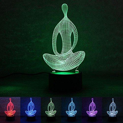 Wmshpeds Yoga méditation bouton lumière de nuit 3D alimentation USB énergie maison intelligente d'économie 3D en trois dimensions lumière décorative conduit