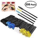 PIXNOR 150 Wimpern Bürsten und 50 Lippenstift Gloss Zauberstäbe, Wimpern Pinseln Mascara Zauberstäbe Einweg-Lippe Bürsten Einweg Make-up Tool