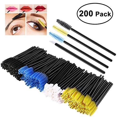 PIXNOR 150 Wimpern Bürsten und 50 Lippenstift Gloss Zauberstäbe, Wimpern Pinseln Mascara Zauberstäbe Einweg-Lippe Bürsten Einweg Make-up Tool -