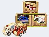 Unbekannt–Auto aus Holz Fahrzeuge Notfall-Feuerwehr, Polizei oder Krankenwagen