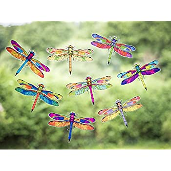 8 beautiful dragonfly double sided static cling window stickers dragonfly anti collision bird strike window stickers fast uk delivery