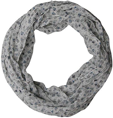 Damen Seidenschal Blümchen grau Loopschal Seide Loop Schal