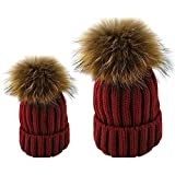 Butterme Mutter u. Baby-Tochter / Sohn 2PCS Elternteilkind Hut Winter warme Knit Hut Familien Häkelarbeit Pelz Wollbeanie Ski Kappe Set (Weinrot)