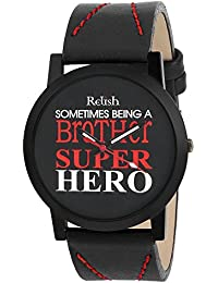 RELISH RE-S8088BB Black Slim Analog Watches For Boys And Mens