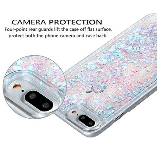 """Hülle für iPhone 7 Plus/8 Plus, xhorizon FM8 Harte Rückseitenabdeckung dynamisches flüssiges Quicksand-Mode mit funkelnden Diamanten-Herzen für iPhone 7 Plus / iPhone 8 Plus [5.5""""] Blau & Rosa"""