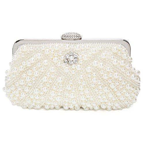 Damen Clutch Abendtasche Handtasche Handmade Clutch Kleine Perlen Diamant Ring Schnalle Brauttasche Hochzeittasche (Orange Diamant-ringe Für Frauen)