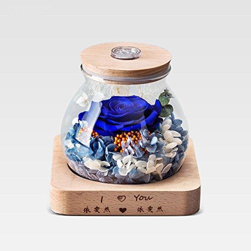 Ornements géants de rose,Boîte de cadeau fleur éternelle Verre Le jour de noël Créatif Fleurs Fleurs artificielles Éternelle Eclairage à distance-A