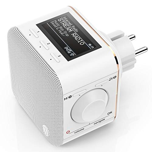 Hama Steckdosen Internetradio klein WLAN Plug in Radio (Bluetooth/AUX/USB/Spotify/Multiroom/Netzwerkstreaming, integr. Radio-Wecker, beleuchtetes Display, geeignet für die Steckdose) -