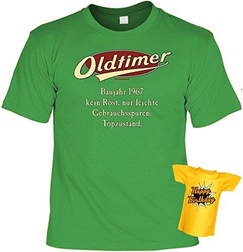 Lustiges T-Shirt zum 50.Geburtstag mit Mini -T-Shirt : Baujahr 1967 - 50 Jahre -- Set Goodman Design® -- Fun T-Shirt Hellgrün
