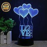 Vier Liebe Herz Balloons 3D Illusion Lampe LED Nachtlicht, USB-Stromversorgung 7 Farben Blinken Berührungsschalter Schlafzimmer Schreibtischlampe für Kinder Weihnachts geschenk