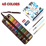 #2: Bianyo 48 Water Color Water Soluble Pencil Set with Pencil Lengthener, Sharpener, Eraser, Water Brush, Blending Brush and Carry Case (48 Color Pencils)