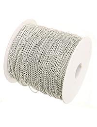 10x metros 5mm x 3,3mm bañado en plata cadena de Craft bisutería para cuentas Fashion Arts Crafts