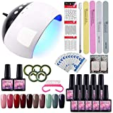 Saint-Acior Kit Uñas de Gel 10 Piesas Esmaltes Semipermanentes 8ml Gel Uñas 24W UV/LED Lámpara...