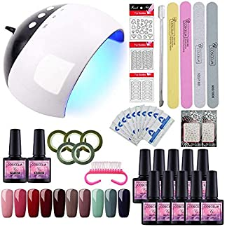 Saint-Acior 80W UV/LED Secador de Uñas 6pcs Esmalte Semipermanente 10ml Matte Top Coat Base Coat Top Coat Kit para Manicura Pedicura