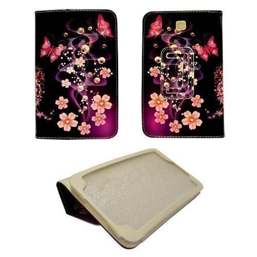GADGET BOXX FALL LILA mit rosa Blumen und rosa Schmetterling MUSTER ENTWURFS STIL DRUCKEN PU Ledertasche für Samsung Galaxy Tab 7 3