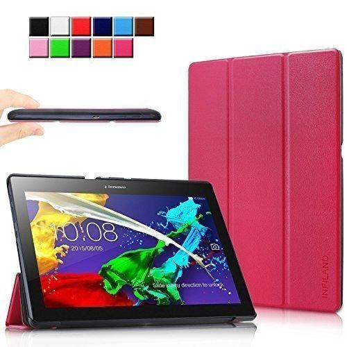 Infiland Lenovo Tab 2 A10-70 / Tab 2 A10-70L / Tab 2 A10-70F / Tab 2 A10-30F / Tab 2 A10-30L / Tab 3 10 Business/ Tab3 10 Plus Hülle Case, Ultra Dünn Tri-Fold Smart-Muschel PU Leder Schutzhülle für Lenovo Tab 2 A10-70 / Tab 2 A10-30 / Tab 3 10 Business/ Tab3 10 Plus 10,1 Zoll Tablet (mit Auto Schlaf / Wach Funktion)(Magenta)