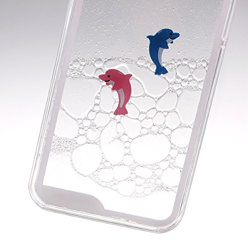 ISAKEN iPhone 4S Hülle,iPhone 4 Hülle,iPhone 4S Case,Hard Hülle für iPhone 4S 4,Kreativ Design Liquid Fließen Flüssig Schwimmend Delphin Delfin Tümmler Dolphin Design Crystal Clear Hard Case Tasche Tr Transparent