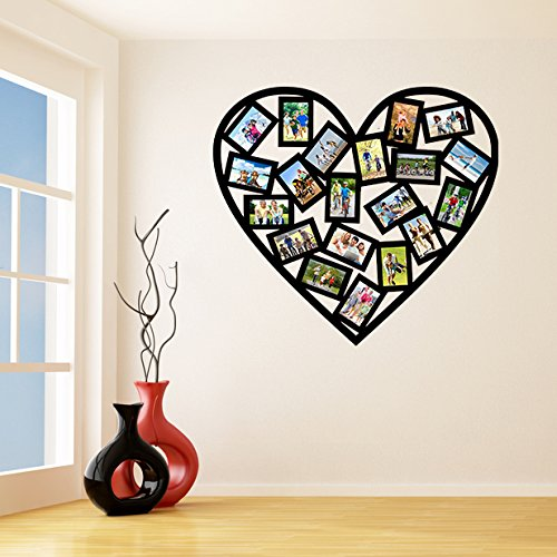 (240x214 cm) Vinyl Wall Decal Picture Frames Design/Heart Shape Photos Art Decor Sticker/Photo Frame Removable Stickers + Free Random Decal Gift!