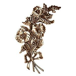 AmazinGrave – Ramas Decorativas en Bronce para lápidas y nichos – Placa de Pared Flores 27x14cm – Aplicación en Bronce para lápida 3115