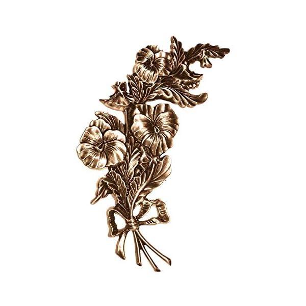 AmazinGrave – Ramas Decorativas en Bronce para lápidas y nichos – Placa de Pared Flores 27x14cm – Aplicación en Bronce…