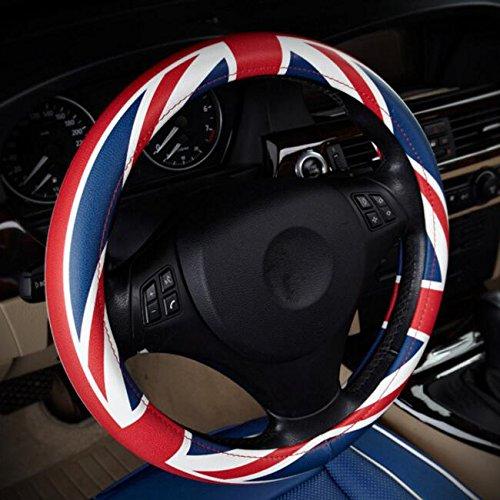 XuanMax Sport Lenkradbezug Mikrofaser Leder Lenkradhulle Universal Lenkradschoner Auto Lenkradabdeckung Steering Wheel Cover 38cm - Blau