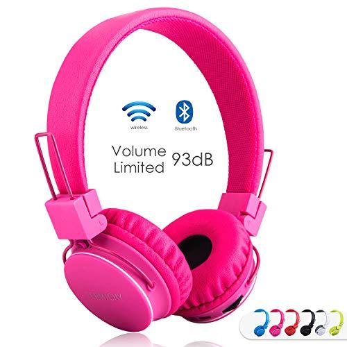 Termichy Bluetooth Kopfhörer Kinder mit 93dB Lautstärkebegrenzung, Faltbare Tragbare Leicht kopfhoerer Kabellos mit Audio Kabel On-Ear Drahtloser Kopfhörer Musik Shareport, Eingebautem Mikrofon (Rosa)