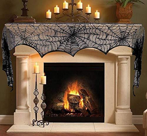 Maycool Halloween-Dekoration, Spinnennetze, Kaminabdeckung, Schwarze Spitze, Kaminbedeckung für Heimdekoration, 45,7 x 243,6 cm