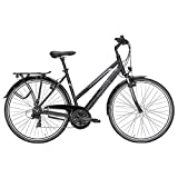 Damen Fahrrad 28 Zoll - Pegasus Piazza - 21 Gänge Kettenschaltung Trapez Trekkingrad - schwarz matt
