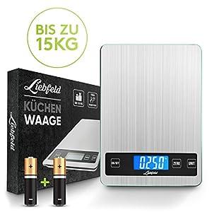 Liebfeld - Digitale Küchenwaage bis 15kg [2019er Version] Haushaltswaage Edelstahl mit großer Wiegefläche + 2 Batterien