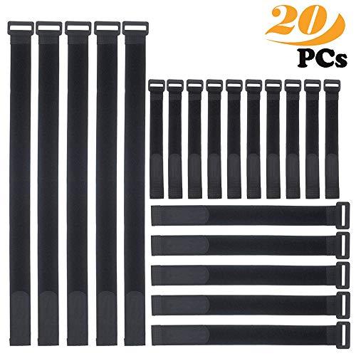 ZoneYan Attache Cable,kitteny Lot de 20-Noir-avec Crochet et Boucle Attache-câble en réutilisables Sangles 3 Tailles 20 pcs - Noir