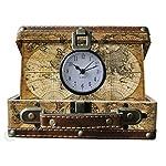 Vintiquewise Alte Weltkarte Koffer-Uhr, Antik Braun, klein