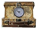 Vintiquewise Kofferuhr mit Alter Weltkarte, Antikes Braun, Klein