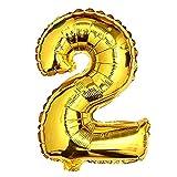 Glanzzeit 45cm Golden Luftballons Buchstaben A zu Z Zahlen 0 zu 9 Geburtstag Jubiläum Hochzeit Babyparty Deko Ballons (Zahl 2)