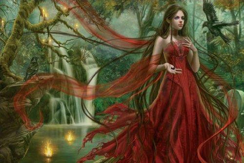 Poster Chris Ortega - schöne Frau mit rotem Kleid im Wald - Größe 91,5 x 61 cm - Maxiposter