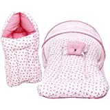 RBC RIYA R Baby Mattress With Mosquito Net & Sleeping Bag Combo 0-6 Months (0-6 Months, Pink)