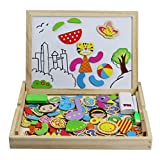 Enlarge toy image: Wooden Double Sided Magnetic Drawing Board Jigsaw Puzzles 100 Pieces Educational Toy for Kids over 3 Years Old