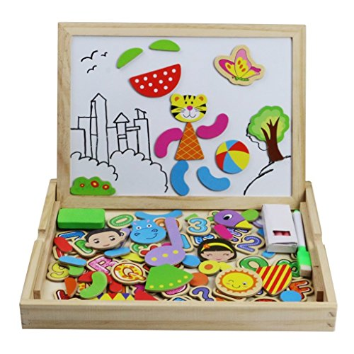 Tablero de Dibujo Magnético Lateral Doble de Madera Rompecabezas 100 piezas para Niños de más de 3 Años