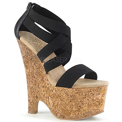 Pleaser Womens BEAU-669/BELS-PU/CK Sandals Criss Cross Wedge Sandal