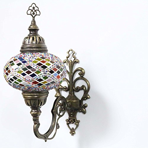 Handmade Turkish Mosaic Sconce Wall Lamp, Stunning Moroccan Style with large size (17cm) Glass Globe by TK Bazaar (Agate)