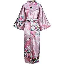 ArtiDeco Vestido Kimono Pijama de Seda Bata Novia Kimono de Seda Ropa de dormir de Satén