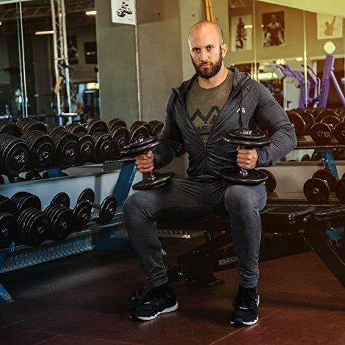 Natural Athlet Herren Fitness Trainingsjacke meliert - hochwertige Herren Sport Freizeitjacke - langarm, mit Taschen & Kapuze ideal für Fitnessstudio & Gym - Sport Freizeit Jacke für Männer Anthrazit