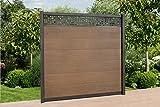 WPC Zaun Royal Alu - Dekor Paneele, ca. B 570 x H188 cm, Sichtschutzzaun, mit 4 Pfosten und Zubehör Farbe: Braun/Grau