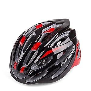24Vents Ciclismo Casco Casco para bicicleta especializado Ultra Light EPS transpirable seguridad casco para mujeres y hombres niños niñas, rojo y negro