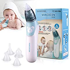 Idea Regalo - Aspiratore nasale, Uman® 2 in 1 Detergente per naso elettrico per bambini e rimozione cerume per orecchie con 4 ugelli riutilizzabili per ventose per neonati, bambini piccoli e neonati