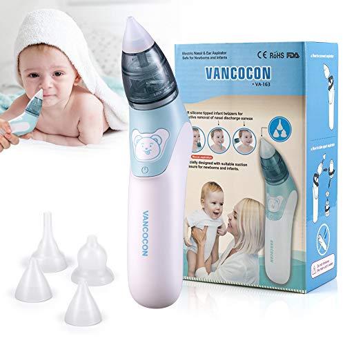 Mouche bébé, Uman® 2 en 1 Aspirateur nasal électrique avec 4 buses à morve réutilisables pour les nouveau-nés, les tout-petits et les enfants de bas âge