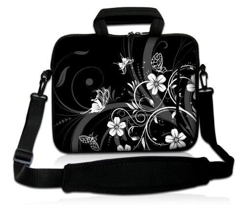 wortek Universal Notebooktasche Sleeve aus Neopren mit Zusatzfach, Tragegriff und Tragegurt für Laptop bis ca. 10,2 Zoll - Ranke Schmetterling Schwarz Weiß