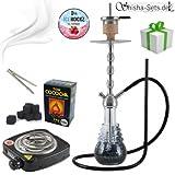 Shisha Set mit Shisha Amy Big Rips 680 Klick II, Kohleanzünder, Naturkohle, Kaminkopf, Dampfsteine und eine kleine Überraschung (Schwarz / Chrom)